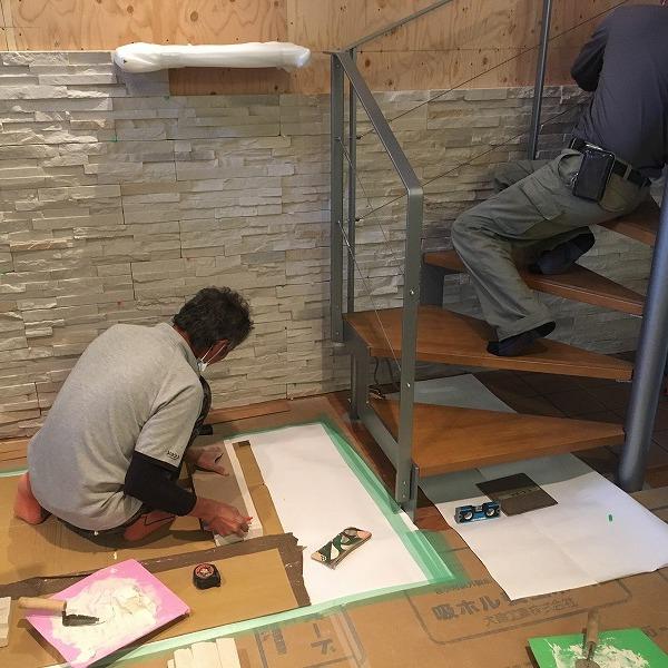 LDK壁面装飾ロックタイル仕上げ。0006054708