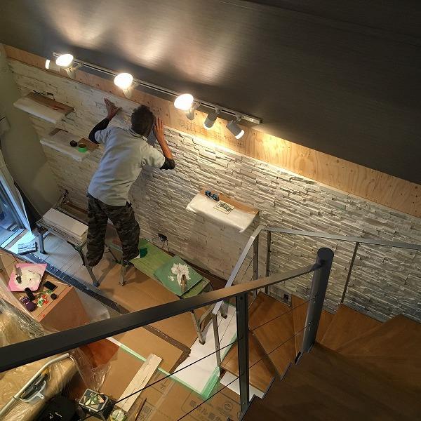 LDK壁面装飾ロックタイル仕上げ。0006054709