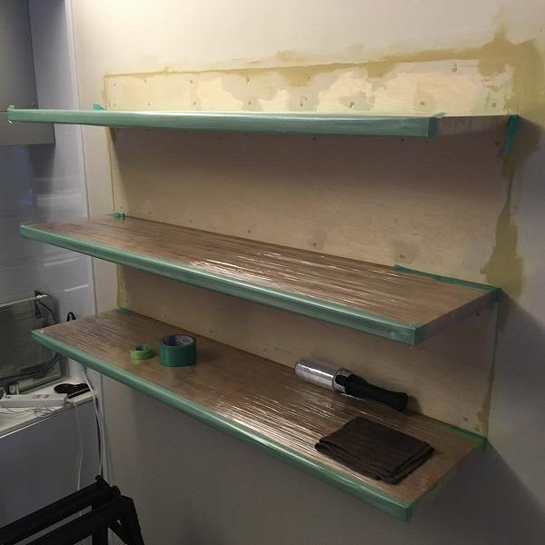 棚取付① 壁がボードの棚取付け。0006074729